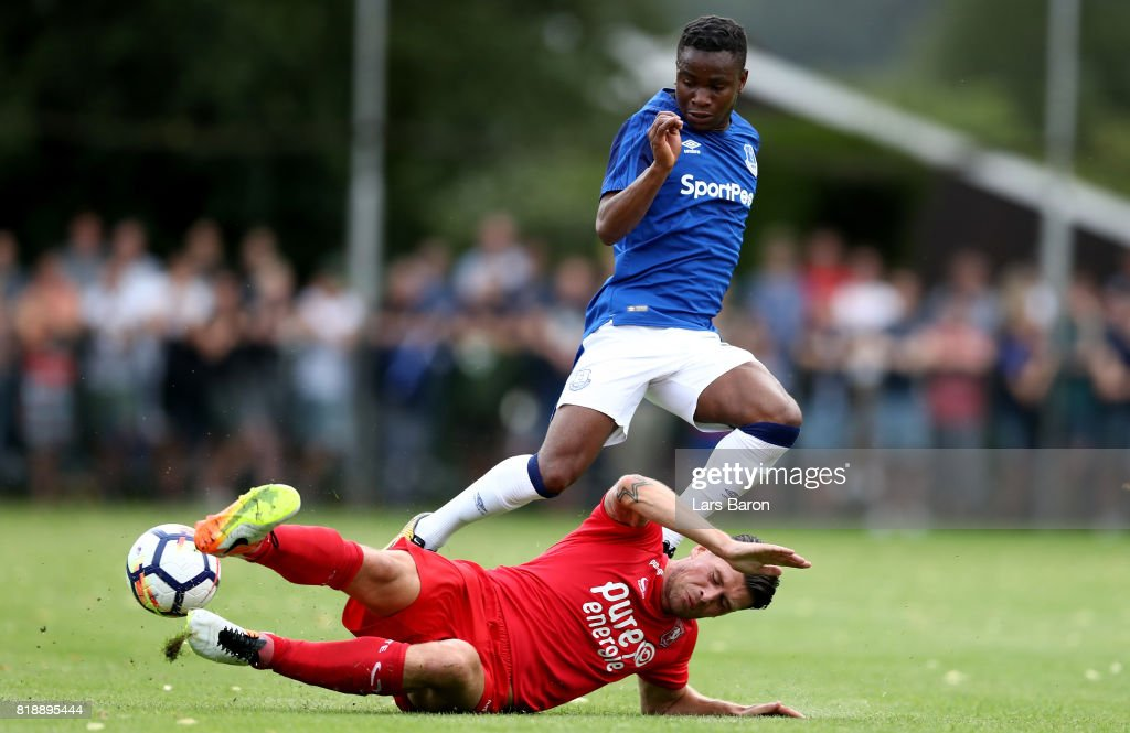 Ademola Lookman of Everton is challenged by Danny Holla of Twente during a preseason friendly match between FC Twente and Everton FC at Sportpark de Stockakker on July 19, 2017 in De Lutte, Netherlands.