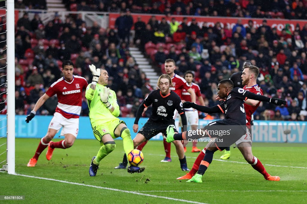 Ademola Lookman of Everton is denied by Victor Valdes of Middlesbrough during the Premier League match between Middlesbrough and Everton at Riverside Stadium on February 11, 2017 in Middlesbrough, England.
