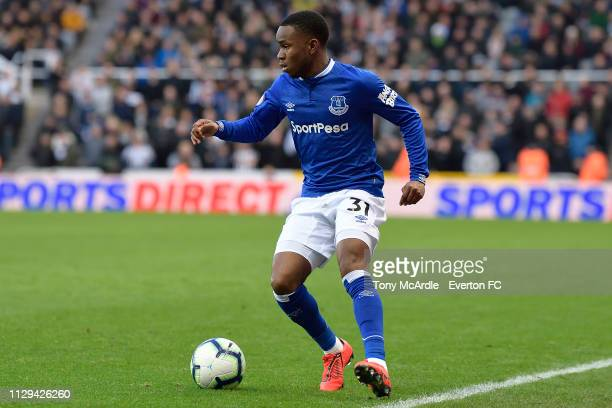 Ademola Lookman of Everton on the ball during the Premier League match between Newcastle United and Everton at St James Park on March 9 2019 in...