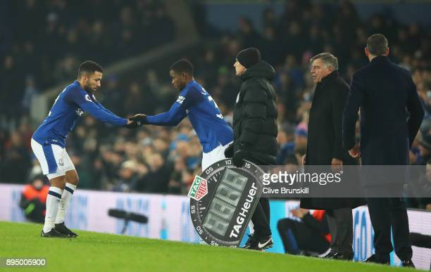 Ademola Lookman of Everton replaces Aaron Lennon of Everton as substitute during the Premier League match between Everton and Swansea City at...