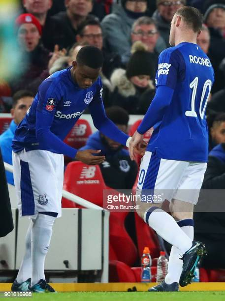 Ademola Lookman of Everton replaces Wayne Rooney of Everton as a substitute during the Emirates FA Cup Third Round match between Liverpool and...