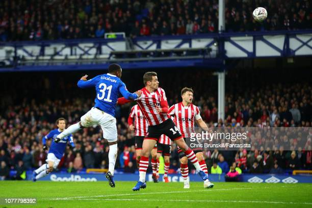 Ademola Lookman of Everton scores the opening goal during the FA Cup Third Round match between Everton and Lincoln City at Goodison Park on January...