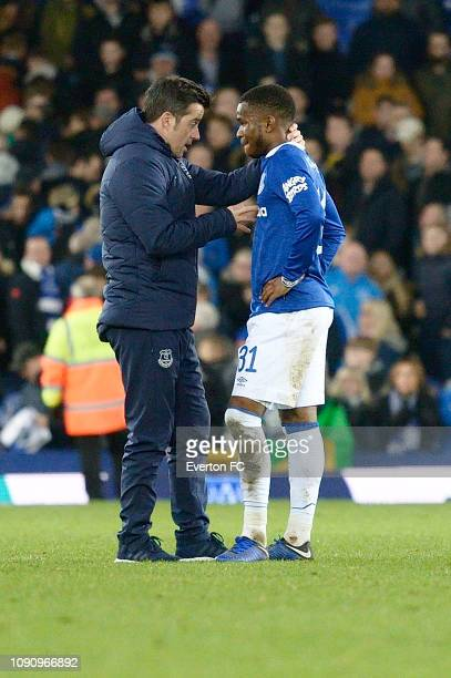 Ademola Lookman of Everton speaks to Marco Silva after the Emirates FA Cup Third Round match between Everton and Lincoln City at Goodison Park on...