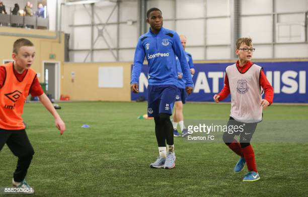 Ademola Lookman of Everton takes part in a football match during the Coaching Session With a Junior Teamat at USM Finch Farm on December 5 2017 in...