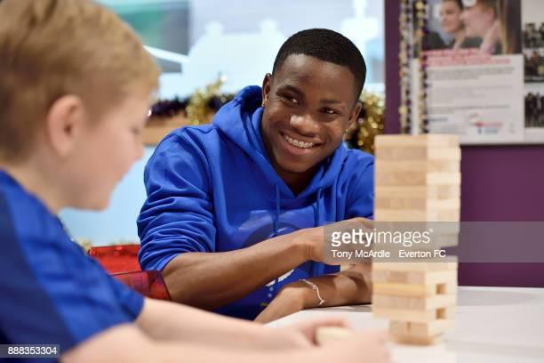Ademola Lookman of Everton visits Alder Hey Childrens Hospital on December 5 2017 in Liverpool England