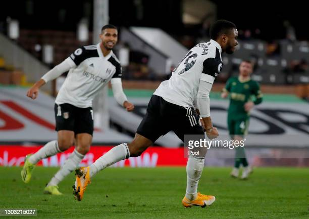 Ademola Lookman of Fulham celebrates after scoring their side's first goal during the Premier League match between Fulham and Sheffield United at...