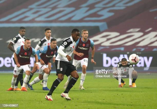 Ademola Lookman of Fulham FC misses a penalty for his team during the Premier League match between West Ham United and Fulham at London Stadium on...