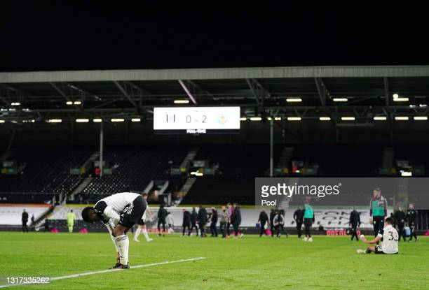 Ademola Lookman of Fulham looks dejected after defeat as Fulham are relegated following the Premier League match between Fulham and Burnley at Craven...