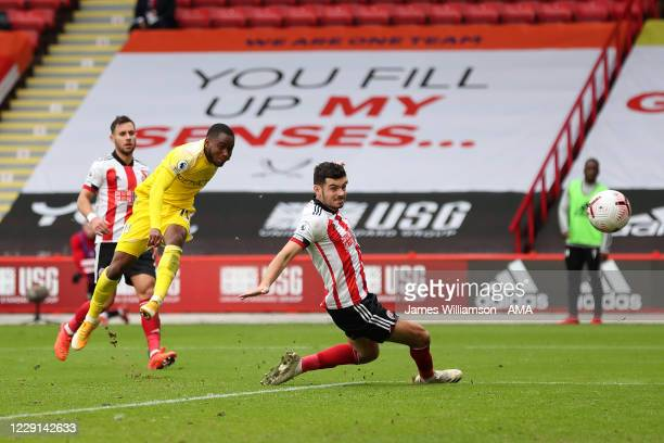 Ademola Lookman of Fulham scores a goal to make it 0-1 during the Premier League match between Sheffield United and Fulham at Bramall Lane on October...