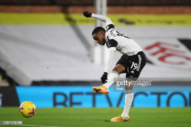 Ademola Lookman of Fulham scores their side's first goal during the Premier League match between Fulham and Manchester United at Craven Cottage on...