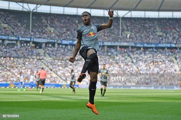 Ademola Lookman of Leipzig celebrates his teams second goal during the Bundesliga match between Hertha BSC and RB Leipzig at Olympiastadion on May 12...