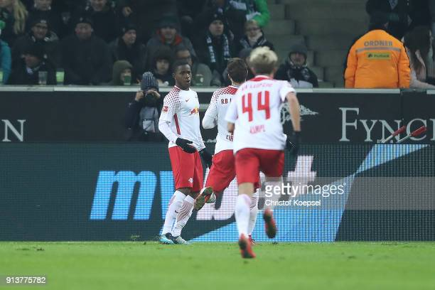 Ademola Lookman of Leipzig celebrates wit his team after he scored a goal to make it 01 during the Bundesliga match between Borussia Moenchengladbach...