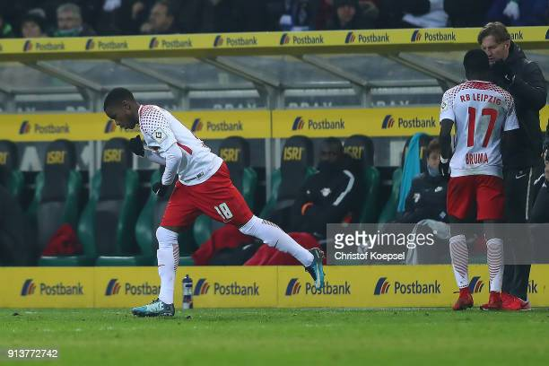 Ademola Lookman of Leipzig comes on as a substitute for Bruma of Leipzig during the Bundesliga match between Borussia Moenchengladbach and RB Leipzig...