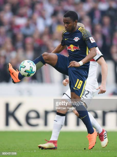 Ademola Lookman of Leipzig controls the ball during the Bundesliga match between VfB Stuttgart and RB Leipzig at MercedesBenz Arena on March 11 2018...
