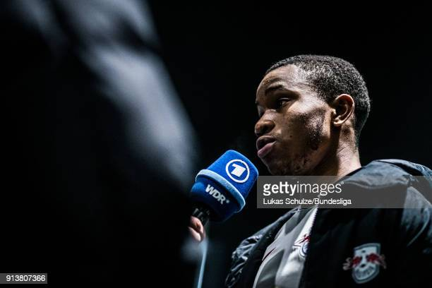Ademola Lookman of Leipzig gives an interview in the flash zone after the Bundesliga match between Borussia Moenchengladbach and RB Leipzig at...