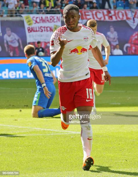 Ademola Lookman of Leipzig jubilates after scoring the first goal during the Bundesliga match between RB Leipzig and VfL Wolfsburg at Red Bull Arena...