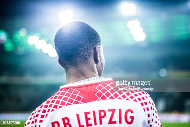 Ademola Lookman of Leipzig looks up after the Bundesliga match between Borussia Moenchengladbach and RB Leipzig at BorussiaPark on February 3 2018 in...