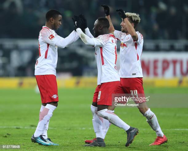 Ademola Lookman of Leipzig Naby Keita of Leipzig and Kevin Kampl of Leipzig celebrate after the Bundesliga match between Borussia Moenchengladbach...