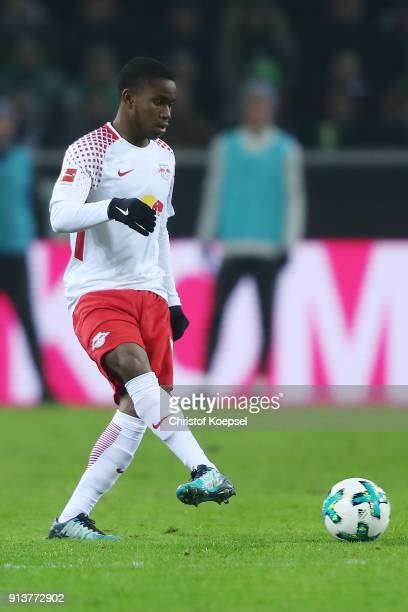 Ademola Lookman of Leipzig plays the ball during the Bundesliga match between Borussia Moenchengladbach and RB Leipzig at BorussiaPark on February 3...