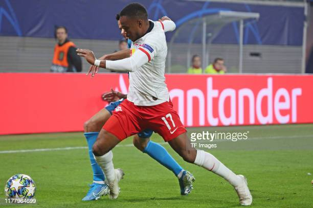 Ademola Lookman of RB Leipzig controls the ball during the UEFA Champions League group G match between RB Leipzig and Zenit St Petersburg at Red Bull...