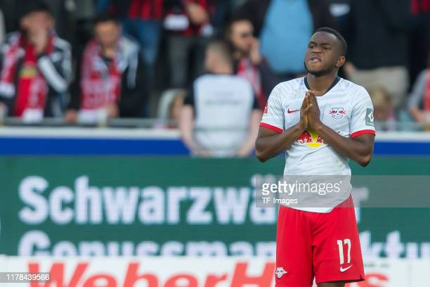 Ademola Lookman of RB Leipzig gestures during the Bundesliga match between Sport-Club Freiburg and RB Leipzig at Schwarzwald-Stadion on October 26,...