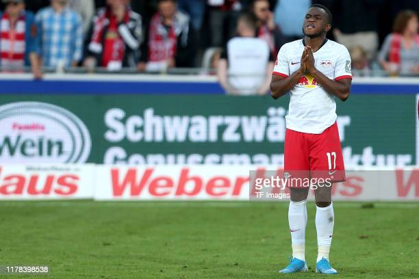 Ademola Lookman of RB Leipzig looks dejected during the Bundesliga match between SportClub Freiburg and RB Leipzig at SchwarzwaldStadion on October...