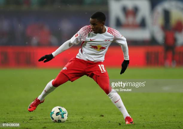 Ademola Lookman of RB Leipzig runs with the ball during the Bundesliga match between RB Leipzig and FC Augsburg at Red Bull Arena on February 9 2018...