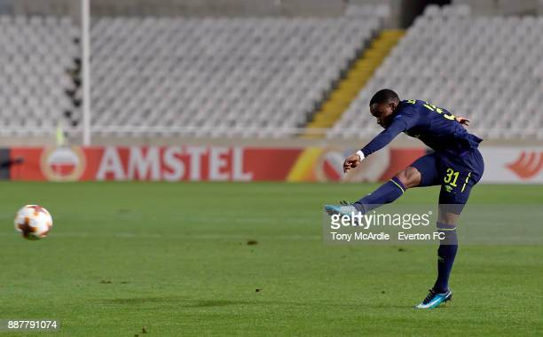 Ademola Lookman shoots to score his second goal during the UEFA Europa League Group E match between Apollon Limassol and Everton at GSP Stadium on...