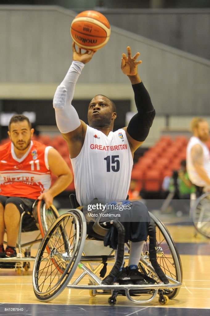 Ademola Orogbemi of Great Britain in action during the Wheelchair Basketball World Challenge Cup match between Great Britain and Turkey at the Tokyo Metropolitan Gymnasium on August 31, 2017 in Tokyo, Japan.