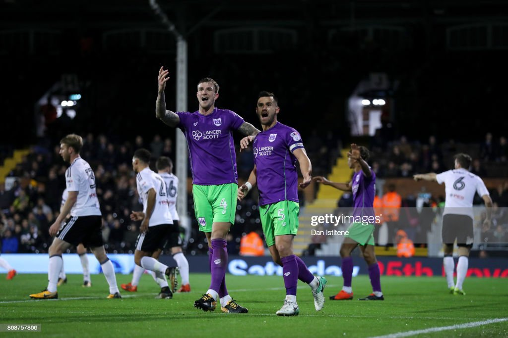 Aden Flint and Bailey Wright of Bristol City react after having a goal disallowed during the Sky Bet Championship match between Fulham and Bristol City at Craven Cottage on October 31, 2017 in London, England.