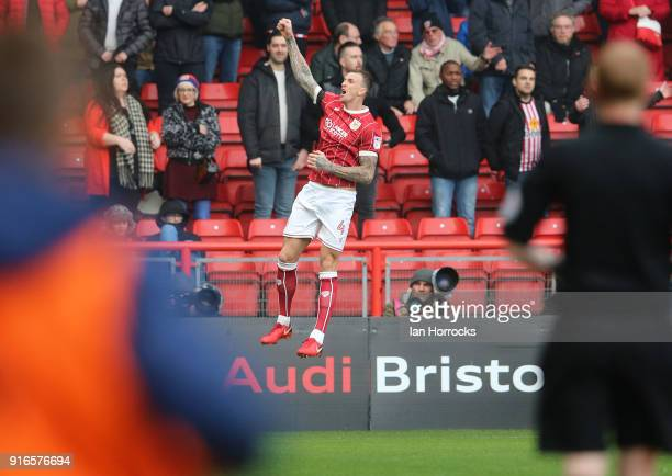 Aden Flint of Bristol celebrates after he scores the opening goal during the Sky Bet Championship match between Bristol City and Sunderland at Ashton...