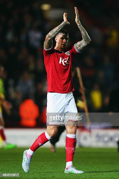 Aden Flint of Bristol City applauds fans at the end of the Sky Bet Championship match between Bristol City and Leeds United at Ashton Gate on August...