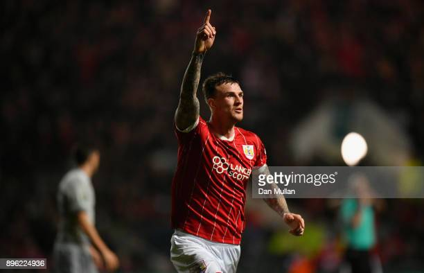 Aden Flint of Bristol City celebrates scoring his sides first goal but it is later disallowed during the Carabao Cup QuarterFinal match between...