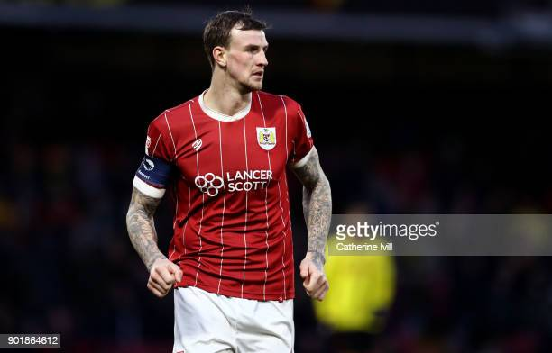 Aden Flint of Bristol City during the Emirates FA Cup Third Round match between Watford and Bristol City at Vicarage Road on January 6 2018 in...