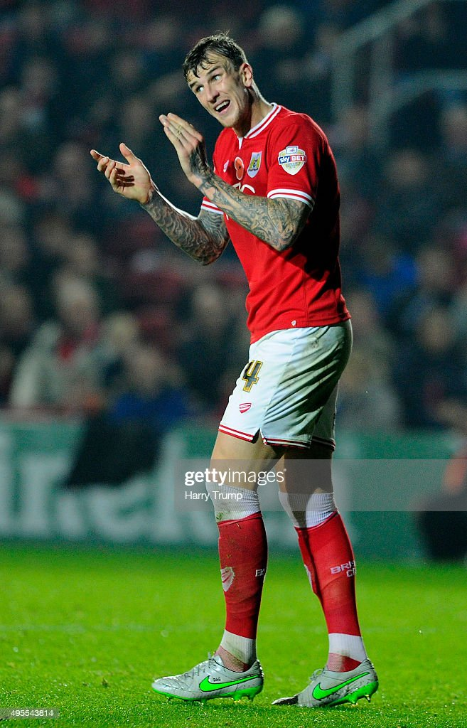 Aden Flint of Bristol City during the Sky Bet Championship match between Bristol City and Wolverhampton Wanderers at Ashton Gate on November 3, 2015 in Bristol, England.
