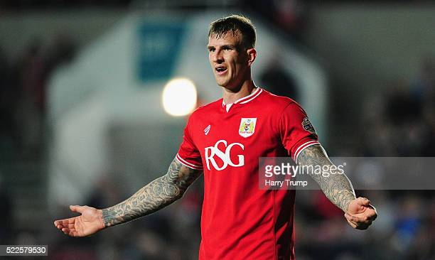 Aden Flint of Bristol City during the Sky Bet Championship match between Bristol City and Derby County on April 19 2016 in Bristol United Kingdom