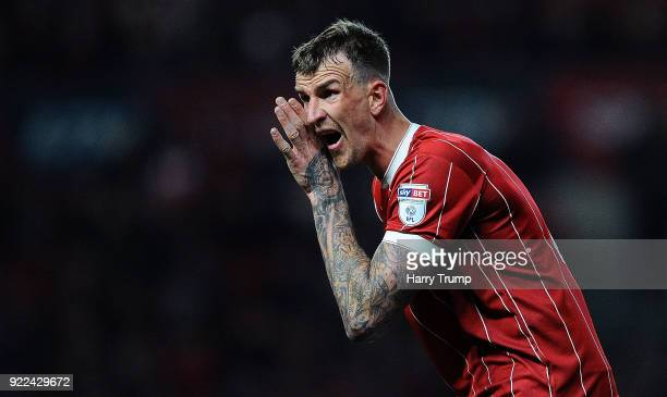 Aden Flint of Bristol City reacts during the Sky Bet Championship match between Bristol City and Fulham at Ashton Gate on February 21 2018 in Bristol...