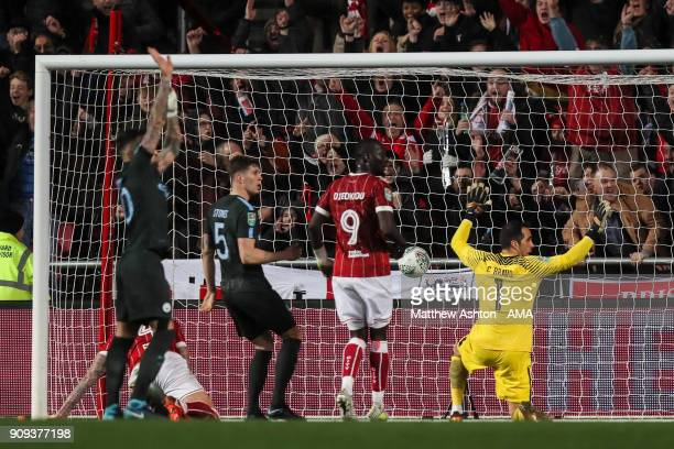 Aden Flint of Bristol City scores a goal to make it 22 during the Carabao Cup SemiFinal Second Leg between Bristol City and Manchester City at Ashton...