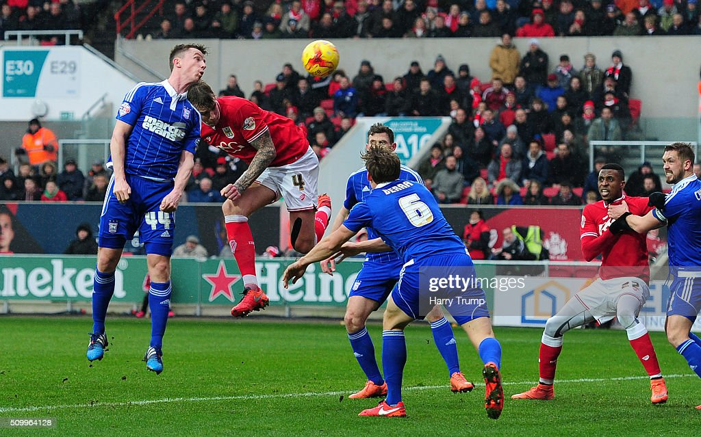 Aden Flint of Bristol City scores his side['s first goal during the Sky Bet Championship match between Bristol City and Ipswich Town at Ashton Gate on February 13, 2016 in Bristol, England.