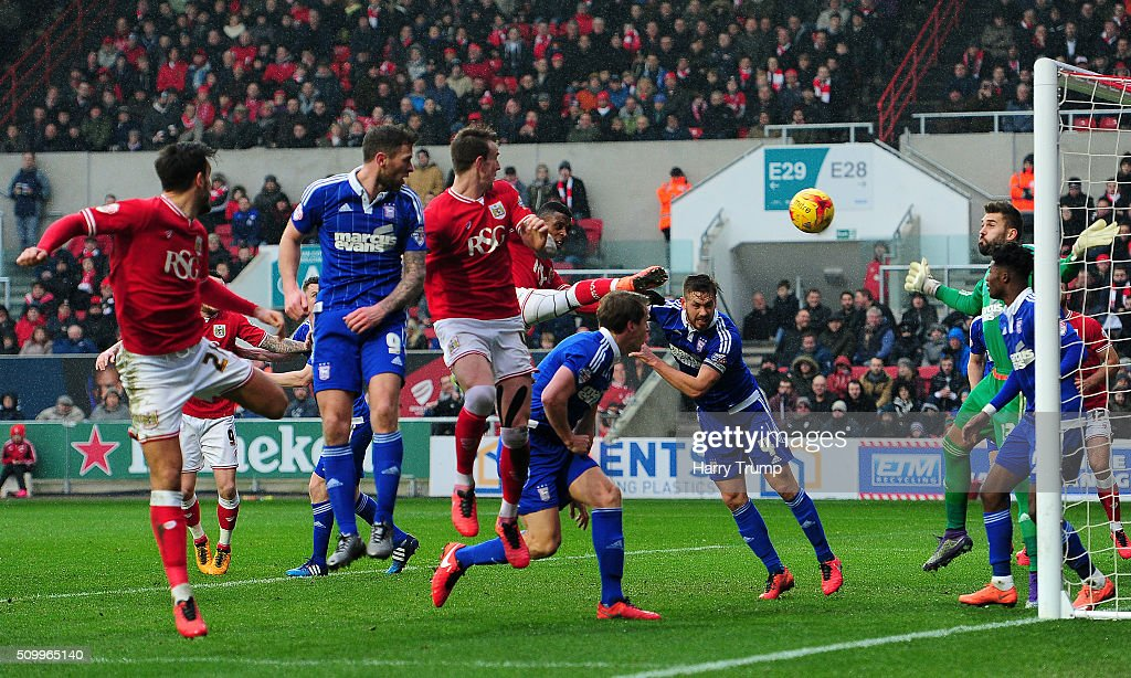 Aden Flint of Bristol City (C) scores his side's second goal during the Sky Bet Championship match between Bristol City and Ipswich Town at Ashton Gate on February 13, 2016 in Bristol, England.