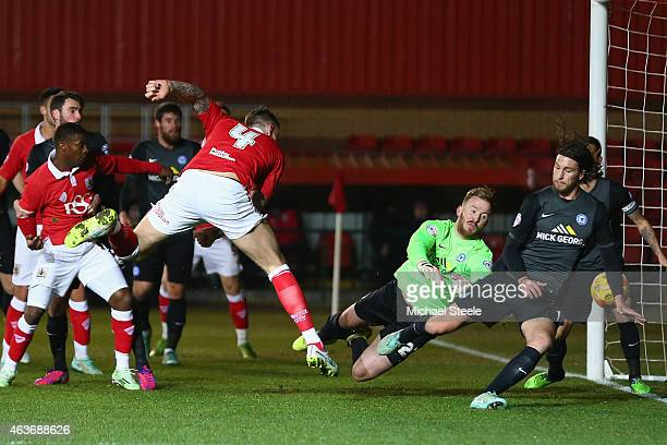 Aden Flint of Bristol City scores the opening goal during the Sky Bet League One match between Bristol City and Peterborough United at Ashton Gate on...