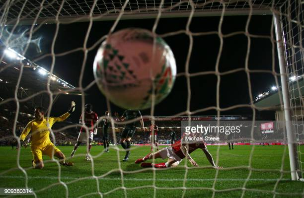 Aden Flint of Bristol City scores their second goal during the Carabao Cup semifinal second leg match between Bristol City and Manchester City at...