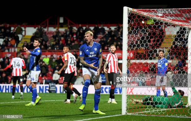 Aden Flint of Cardiff City reacts to a missed chance during the Sky Bet Championship match between Brentford and Cardiff City at Griffin Park on...