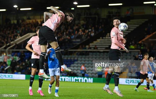 Aden Flint of Cardiff City scores his team's second goal during the Sky Bet Championship match between Peterborough United and Cardiff City at London...