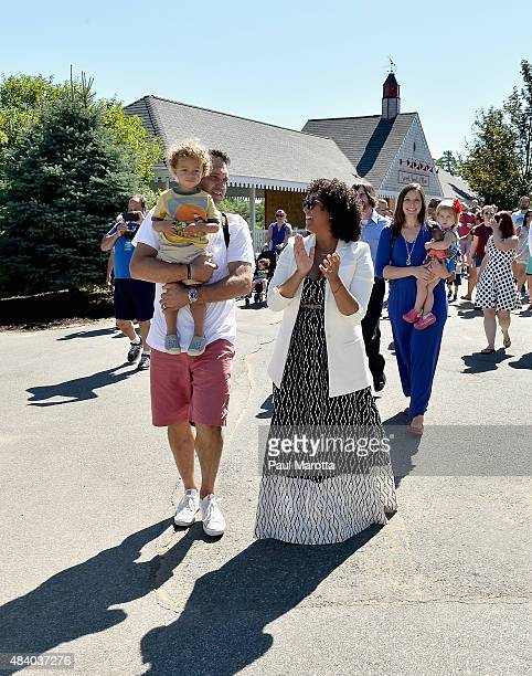 Aden Housley Adam Housley and Tamera Mowry attend the Edaville USA And Mattel Grand Opening Of 'Thomas Land' on August 14 2015 in Carver Massachusetts