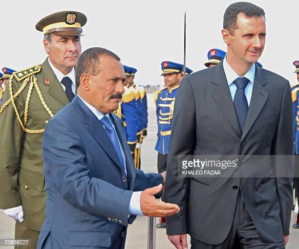 Yemeni president Ali Abdullah Saleh receives his Syrian counterpart Bashar AlAsad in the Yemeni southern port city of Aden 16 December 2006 AlAsad is...