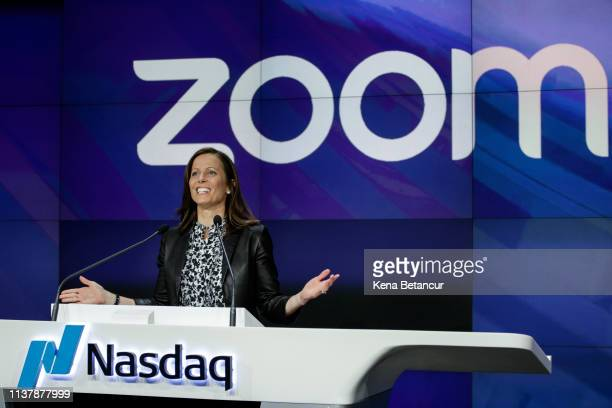 Adena Friedman, chief executive officer of Nasdaq Inc., welcomes Eric Yuan, founder and chief executive officer of Zoom Video Communications Inc...