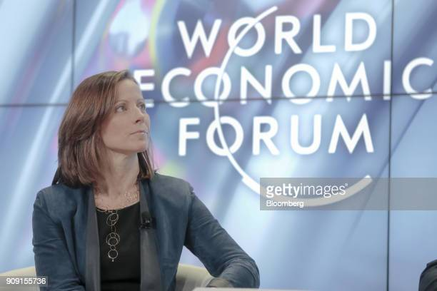 Adena Friedman president and chief executive officer of Nasdaq Inc looks on during a panel session on the opening day of the World Economic Forum in...