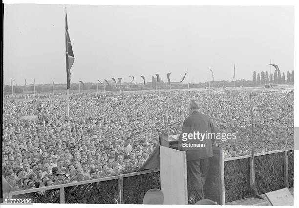 Adenauer Addresses Thousands of Ex POWs Frankurt West Germany More than 150000 former prisoners of war are shown massed on the fair grounds in...