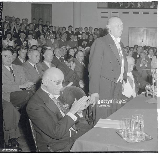 Adenauer Blames US for Draft Defeat Brussels Belgium West German chancellor Konrad Adenauer stands at rostrum during meeting of the 'Grandes...